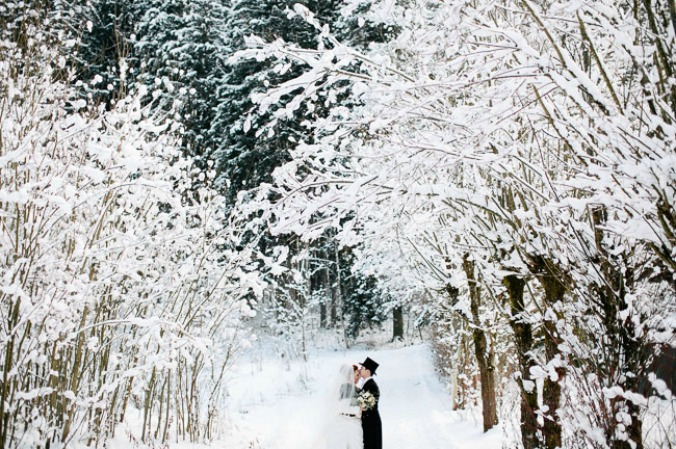 bride and groom in winter wonderland wedding