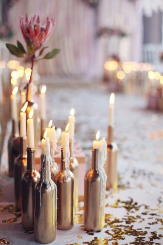 winter wedding decoration gold bottle and candles