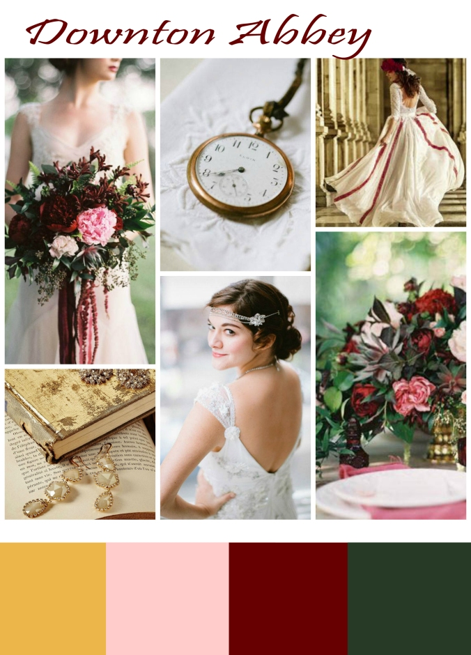 downton abbey marsala and pink wedding inspiration_1