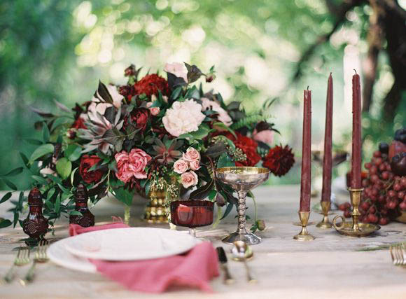 marsala and pink table setting