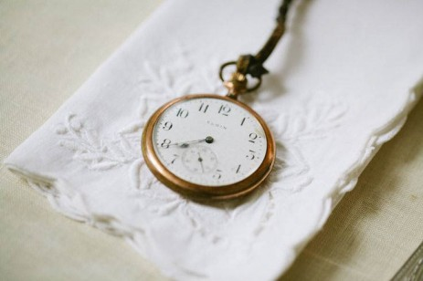 vintage pocket watch and handkerchief