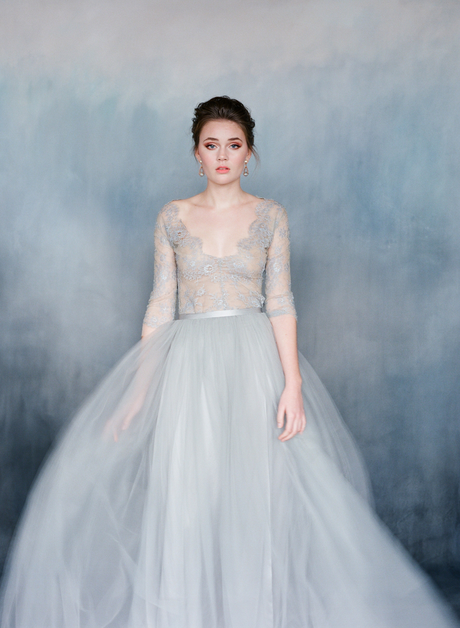 One blushing bride wedding inspiration for the for Blue wedding dress with sleeves